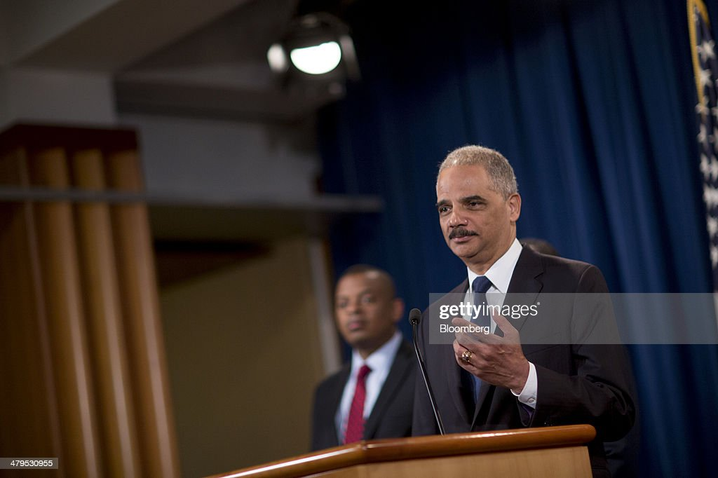 <a gi-track='captionPersonalityLinkClicked' href=/galleries/search?phrase=Eric+Holder&family=editorial&specificpeople=1060367 ng-click='$event.stopPropagation()'>Eric Holder</a>, U.S. attorney general, right, speaks during a news conference with <a gi-track='captionPersonalityLinkClicked' href=/galleries/search?phrase=Anthony+Foxx&family=editorial&specificpeople=7128225 ng-click='$event.stopPropagation()'>Anthony Foxx</a>, U.S. secretary of transportation, at the Department of Justice in Washington, D.C., U.S., on Wednesday, March 19, 2014. Toyota Motor Corp. has agreed to pay a $1.2 billion penalty to end a U.S. criminal probe into sudden unintended acceleration that led to the recall of more than 10 million vehicles, the Justice Department said. Photographer: Andrew Harrer/Bloomberg via Getty Images