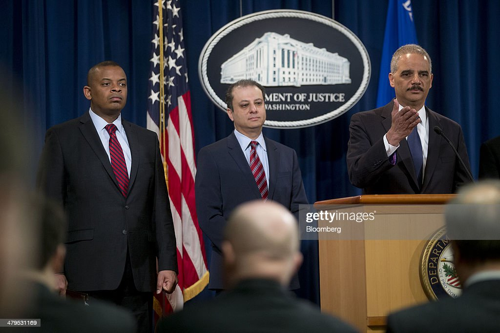 <a gi-track='captionPersonalityLinkClicked' href=/galleries/search?phrase=Eric+Holder&family=editorial&specificpeople=1060367 ng-click='$event.stopPropagation()'>Eric Holder</a>, U.S. attorney general, right, speaks during a news conference with <a gi-track='captionPersonalityLinkClicked' href=/galleries/search?phrase=Preet+Bharara&family=editorial&specificpeople=6378363 ng-click='$event.stopPropagation()'>Preet Bharara</a>, U.S. attorney for the Southern District of New York, center, and <a gi-track='captionPersonalityLinkClicked' href=/galleries/search?phrase=Anthony+Foxx&family=editorial&specificpeople=7128225 ng-click='$event.stopPropagation()'>Anthony Foxx</a>, U.S. secretary of transportation, at the Department of Justice in Washington, D.C., U.S., on Wednesday, March 19, 2014. Toyota Motor Corp. has agreed to pay a $1.2 billion penalty to end a U.S. criminal probe into sudden unintended acceleration that led to the recall of more than 10 million vehicles, the Justice Department said. Photographer: Andrew Harrer/Bloomberg via Getty Images