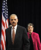 Eric Holder US President elect Barack Obama's nominee to be the next US attorney general arrives for a press conference in Chicago Illinioson...