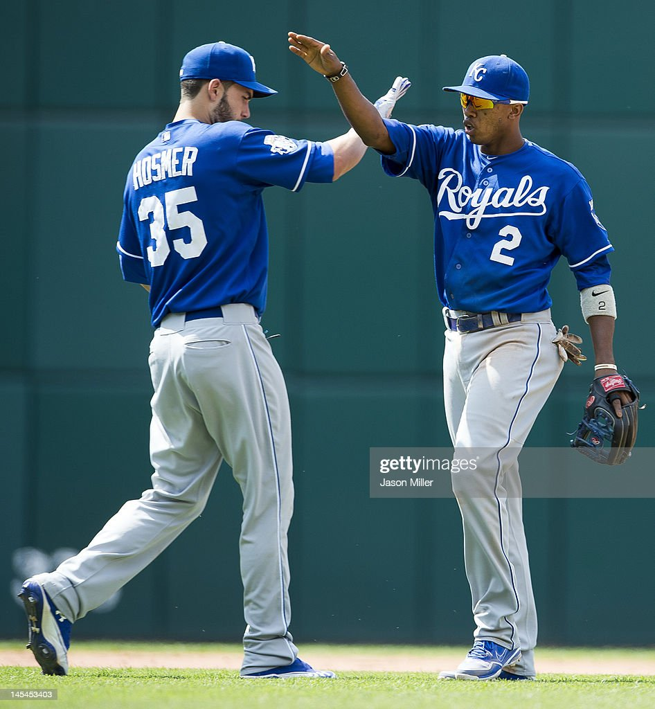 Eric Hosmer #35 and Alcides Escobar #2 of the Kansas City Royals celebrate after defeating the Cleveland Indians at Progressive Field on May 30, 2012 in Cleveland, Ohio. The Royals defeated the Indians 6-3.