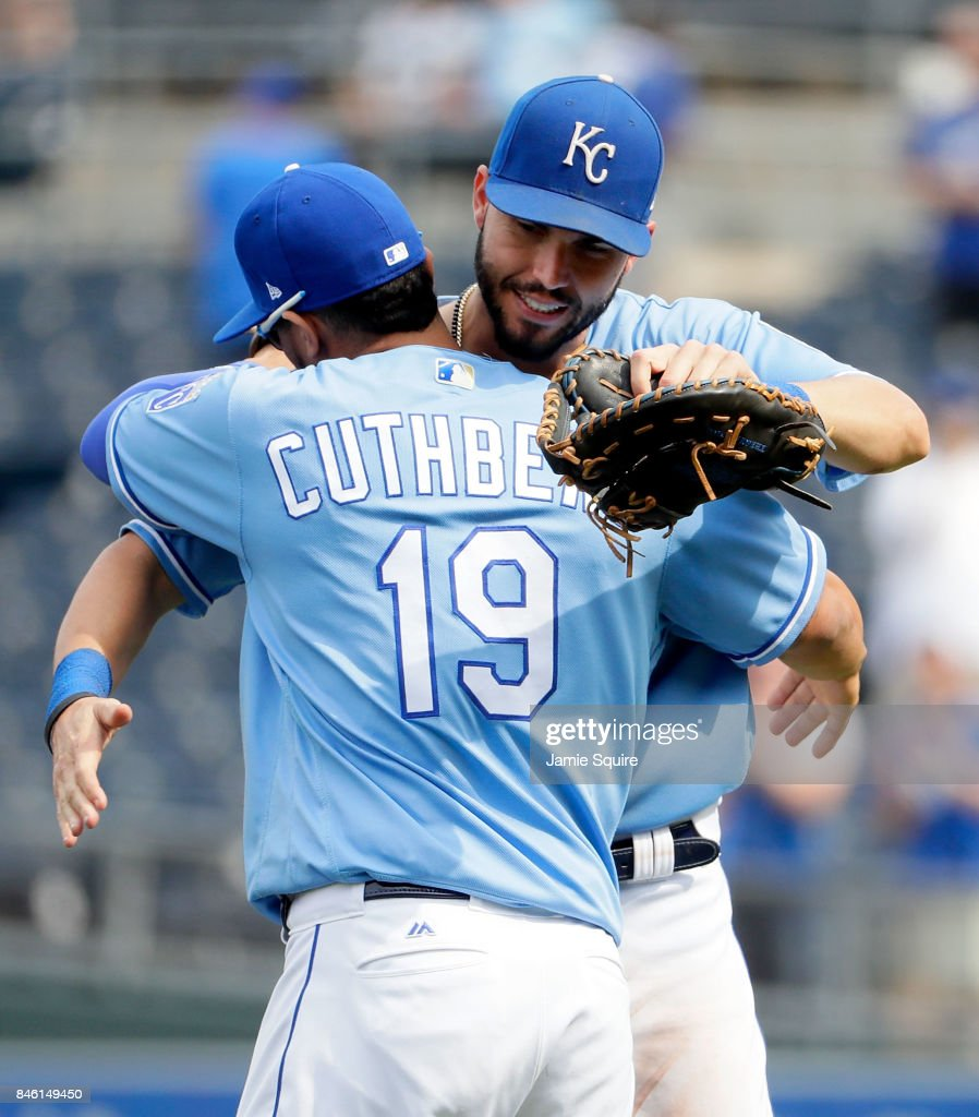 Eric Hosmer #35 and Cheslor Cuthbert #19 of the Kansas City Royals congratulate each other after the Royals defeated the Chicago White Sox 4-3 to win the game at Kauffman Stadium on September 12, 2017 in Kansas City, Missouri.