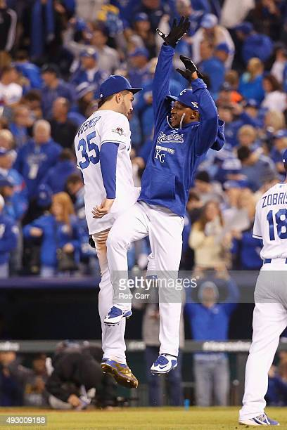 Eric Hosmer of the Kansas City Royals and Jarrod Dyson of the Kansas City Royals celebrate defeating the Toronto Blue Jays 50 in game one of the...