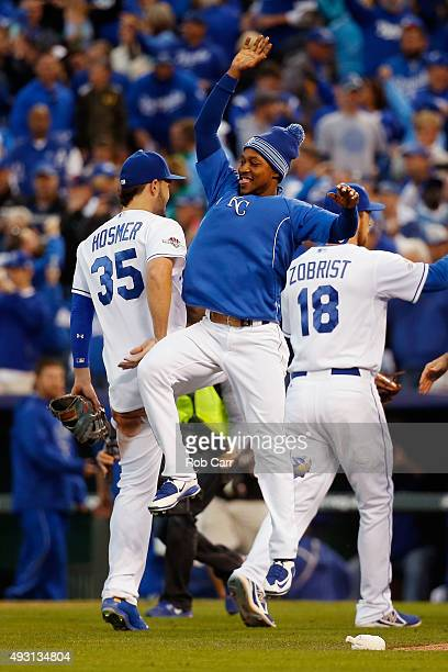 Eric Hosmer of the Kansas City Royals and Jarrod Dyson of the Kansas City Royals celebrate defeating the Toronto Blue Jays 63 in game two of the...