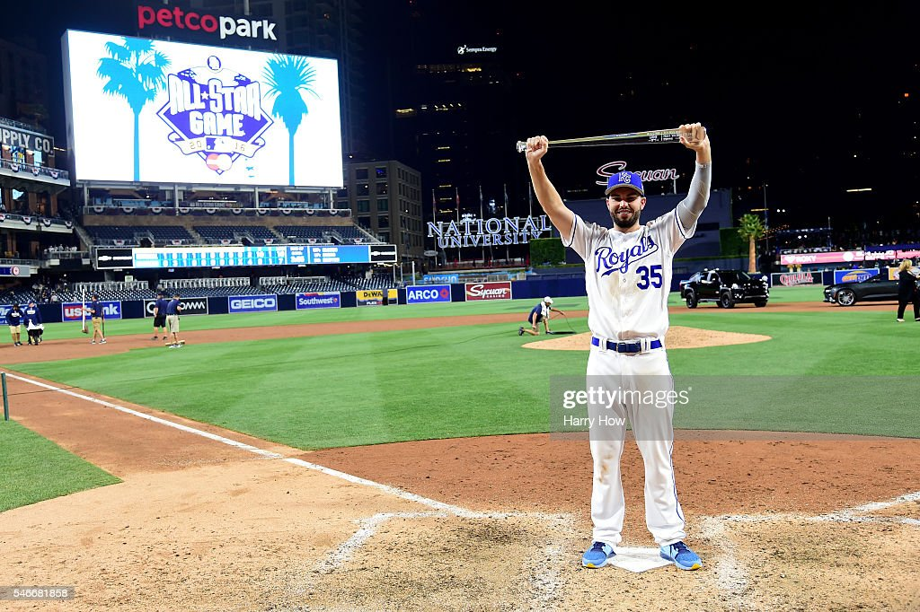 Eric Hosmer #35 of the Kansas City Royals and the American League poses with the Ted Williams Most Valuable Player award after defeating the National League 4-2 during the 87th Annual MLB All-Star Game at PETCO Park on July 12, 2016 in San Diego, California.