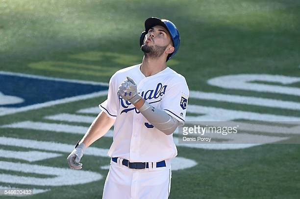 Eric Hosmer of the Kansas City Royals and the American League rounds the bases after hitting a home run against the National League in the 2nd inning...