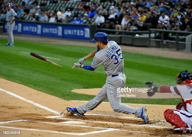 Eric Hosmer of the Kansas City Royals breaks his bat against the Chicago White Sox during the first inning on September 28 2013 at US Cellular Field...