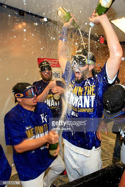 Eric Hosmer of the Kansas City Royals celebrate in the locker room after their 2 to 1 win over the Baltimore Orioles to sweep the series in Game Four...