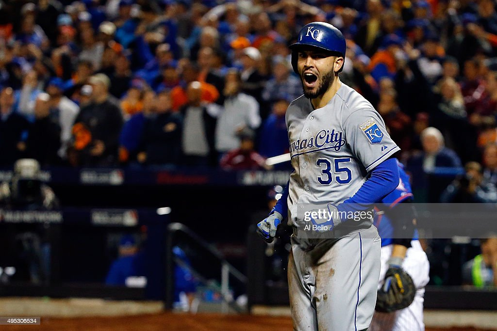 <a gi-track='captionPersonalityLinkClicked' href=/galleries/search?phrase=Eric+Hosmer&family=editorial&specificpeople=7091345 ng-click='$event.stopPropagation()'>Eric Hosmer</a> #35 of the Kansas City Royals celebrates after scoring a run off of a grounded out hit by Salvador Perez #13 to tie the game in the ninth inning against Jeurys Familia #27 of the New York Mets during Game Five of the 2015 World Series at Citi Field on November 1, 2015 in the Flushing neighborhood of the Queens borough of New York City.