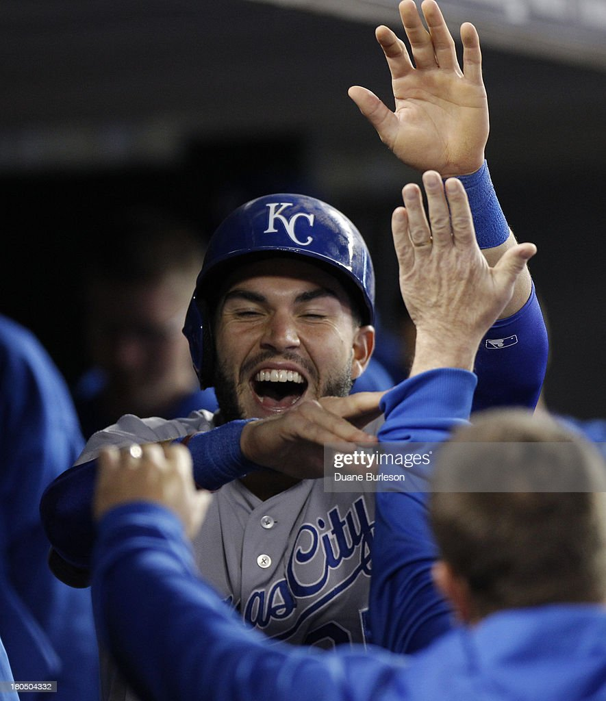 <a gi-track='captionPersonalityLinkClicked' href=/galleries/search?phrase=Eric+Hosmer&family=editorial&specificpeople=7091345 ng-click='$event.stopPropagation()'>Eric Hosmer</a> #35 of the Kansas City Royals celebrates after scoring against the Detroit Tigers in the fourth inning on a single by Salvador Perez at Comerica Park on September 13, 2013 in Detroit, Michigan.