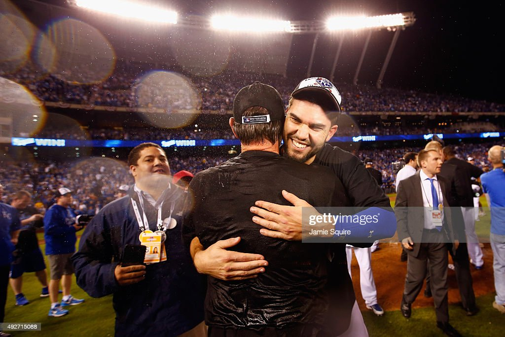 Eric Hosmer #35 of the Kansas City Royals celebrates after the Kansas City Royals defeat the Houston Astros 7-2 in game five of the American League Divison Series at Kauffman Stadium on October 14, 2015 in Kansas City, Missouri.