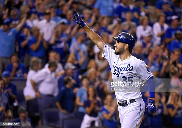 Eric Hosmer of the Kansas City Royals celebrates his home run in the fifth inning against the Seattle Mariners at Kauffman Stadium on September 24...