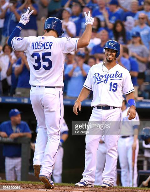 Eric Hosmer of the Kansas City Royals celebrates his tworun home run with Cheslor Cuthbert in the fourth inning against the Detroit Tigers at...