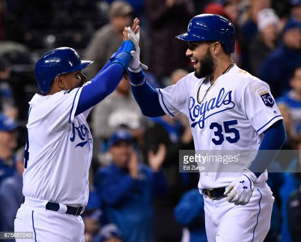 Eric Hosmer of the Kansas City Royals celebrates his tworun home run with Christian Colon in the seventh inning against the Chicago White Sox at...