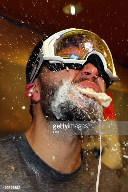Eric Hosmer of the Kansas City Royals celebrates in the clubhouse after defeating the New York Mets to win Game Five of the 2015 World Series at Citi...