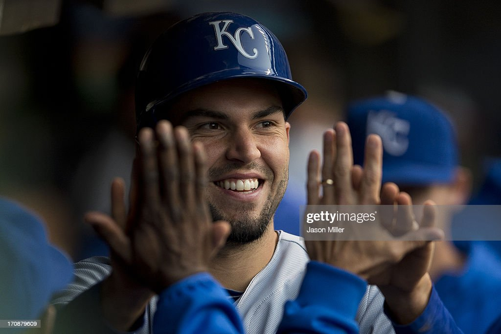 <a gi-track='captionPersonalityLinkClicked' href=/galleries/search?phrase=Eric+Hosmer&family=editorial&specificpeople=7091345 ng-click='$event.stopPropagation()'>Eric Hosmer</a> #35 of the Kansas City Royals celebrates in the dugout after scoring on a single by David Lough #7 of the Kansas City Royals during the fifth inning against the Cleveland Indians at Progressive Field on June 19, 2013 in Cleveland, Ohio.