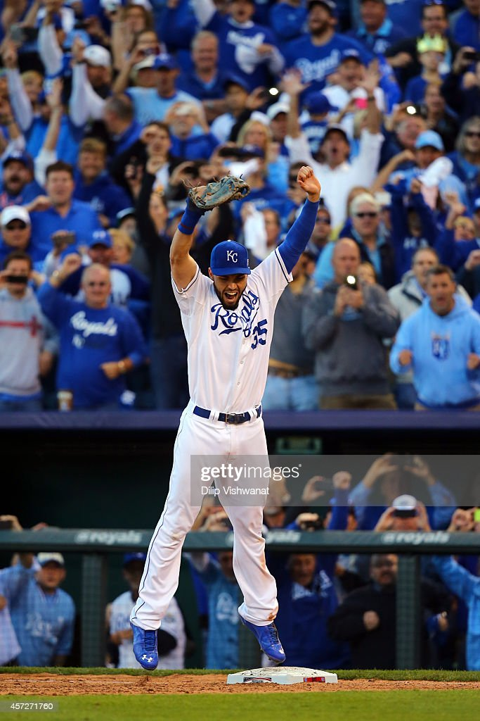 <a gi-track='captionPersonalityLinkClicked' href=/galleries/search?phrase=Eric+Hosmer&family=editorial&specificpeople=7091345 ng-click='$event.stopPropagation()'>Eric Hosmer</a> #35 of the Kansas City Royals celebrates their 2 to 1 win over the Baltimore Orioles to sweep the series in Game Four of the American League Championship Series at Kauffman Stadium on October 15, 2014 in Kansas City, Missouri.