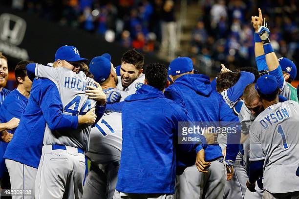 Eric Hosmer of the Kansas City Royals celebrates with his teammates after defeating the New York Mets in Game Five of the 2015 World Series at Citi...