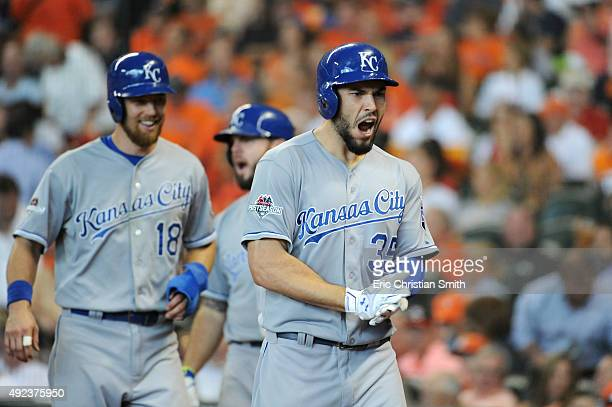 Eric Hosmer of the Kansas City Royals celebrates with teammates after hitting a tworun home run in the ninth inning against the Houston Astros during...