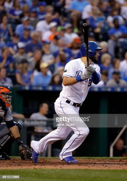 Eric Hosmer of the Kansas City Royals connects for his 1000th career hit during the 3rd inning of the game against the Detroit Tigers at Kauffman...