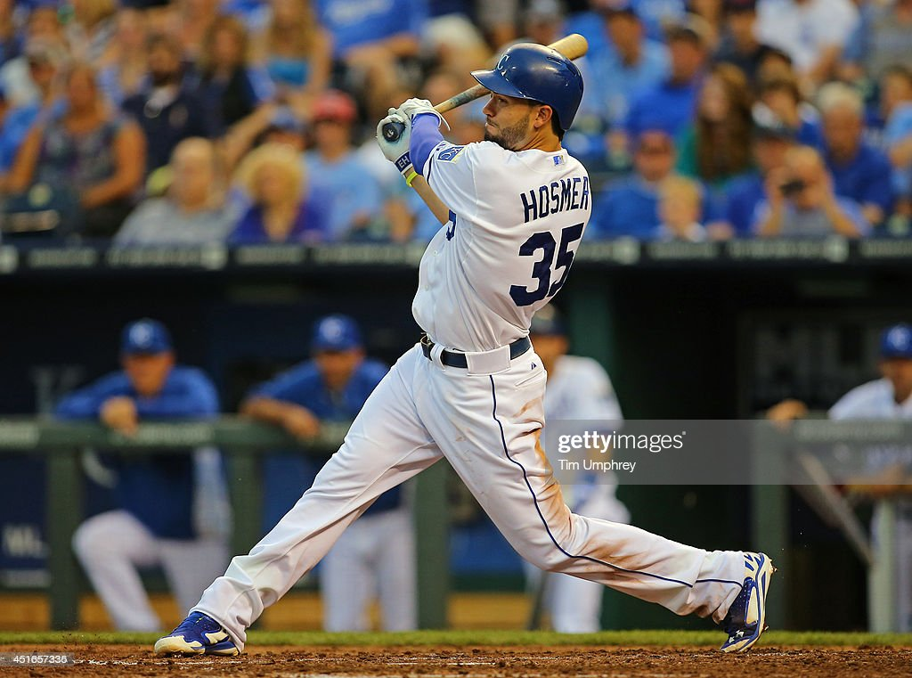 Eric Hosmer #35 of the Kansas City Royals hits a single in the fourth inning of a game against the Los Angeles Dodgers at Kauffman Stadium on June 24, 2014 in Kansas City, Missouri. The Dodgers defeated the Royals 2-0.