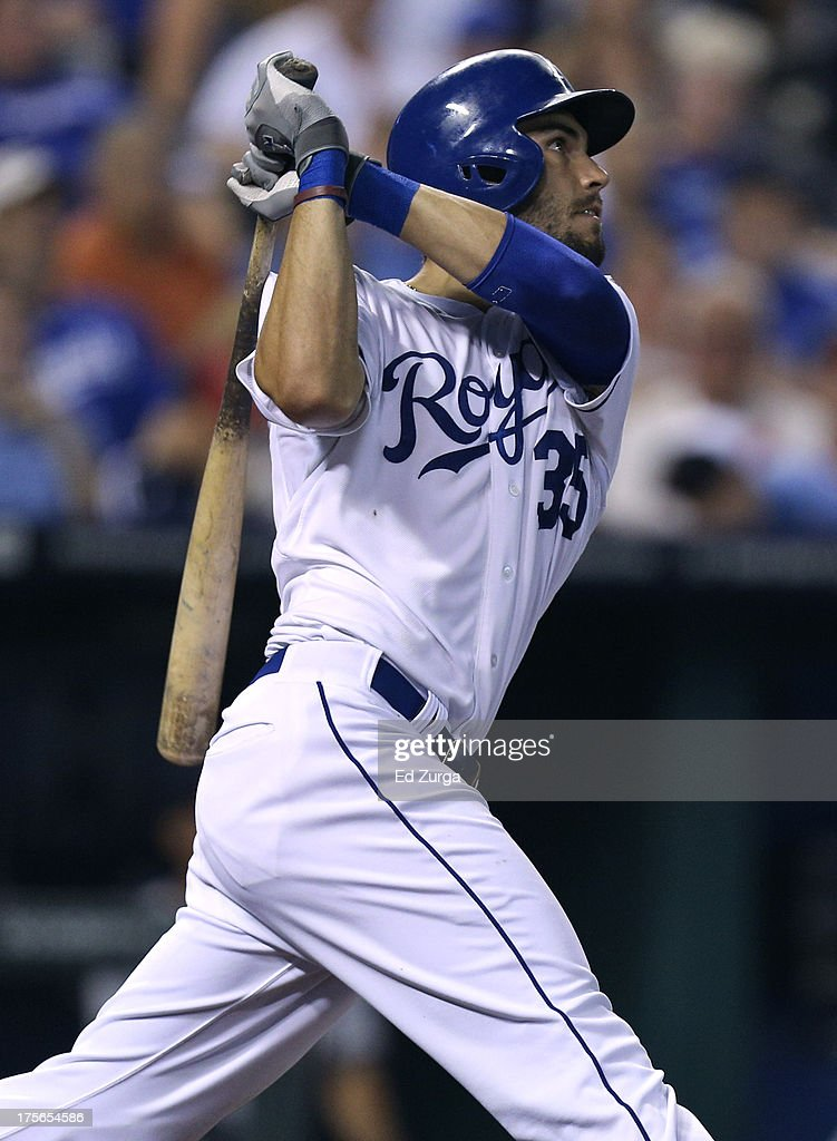 Eric Hosmer #35 of the Kansas City Royals hits a three-run home run in the sixth inning against the Minnesota Twins at Kauffman Stadium August, 5, 2013 in Kansas City, Missouri.