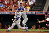 Eric Hosmer of the Kansas City Royals hits a tworun home run in the eleventh inning against the Los Angeles Angels during Game Two of the American...