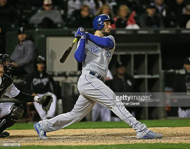 Eric Hosmer of the Kansas City Royals hits a tworun home run in the 10th inning against the Chicago White Sox at US Cellular Field on September 30...