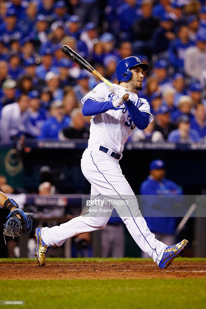 <a gi-track='captionPersonalityLinkClicked' href=/galleries/search?phrase=Eric+Hosmer&family=editorial&specificpeople=7091345 ng-click='$event.stopPropagation()'>Eric Hosmer</a> #35 of the Kansas City Royals hits an RBI double in the eighth inning against the Toronto Blue Jays during game one of the American League Championship Series at Kauffman Stadium on October 16, 2015 in Kansas City, Missouri.