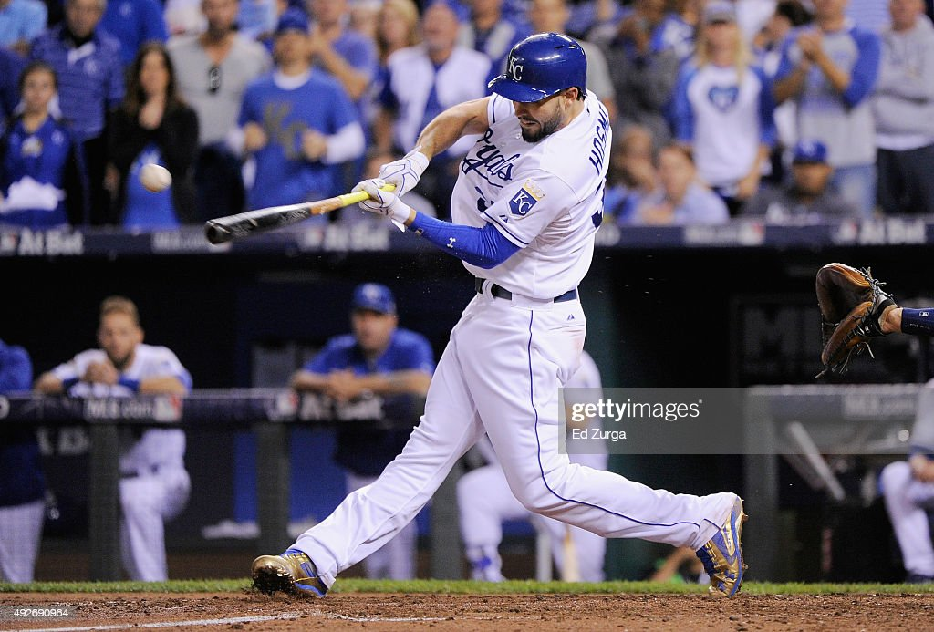 Eric Hosmer of the Kansas City Royals hits an RBI single in the fourth inning against the Houston Astros during game five of the American League...