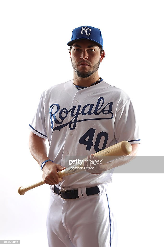 Eric Hosmer #40 of the Kansas City Royals poses for a portrait during Spring Training Media Day on February 23, 2011 at Surprise Stadium in Surprise, Arizona..