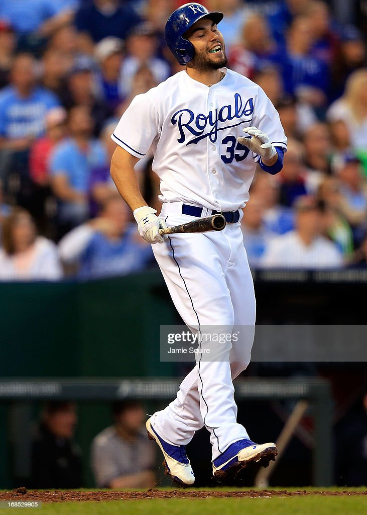 <a gi-track='captionPersonalityLinkClicked' href=/galleries/search?phrase=Eric+Hosmer&family=editorial&specificpeople=7091345 ng-click='$event.stopPropagation()'>Eric Hosmer</a> #35 of the Kansas City Royals reacts after a strike during the game against the New York Yankees at Kauffman Stadium on May 10, 2013 in Kansas City, Missouri.