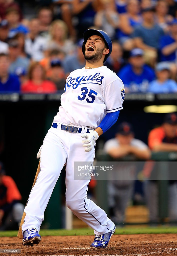 Eric Hosmer #35 of the Kansas City Royals reacts after fouling a ball off his foot during the game against the Detroit Tigers at Kauffman Stadium on July 20, 2013 in Kansas City, Missouri.