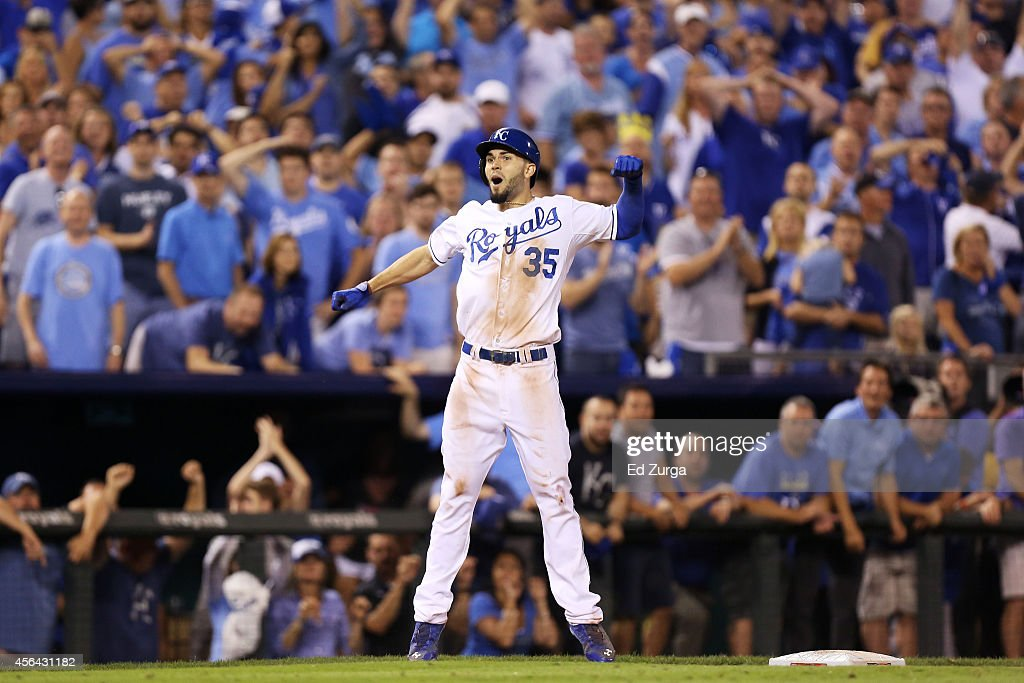 <a gi-track='captionPersonalityLinkClicked' href=/galleries/search?phrase=Eric+Hosmer&family=editorial&specificpeople=7091345 ng-click='$event.stopPropagation()'>Eric Hosmer</a> #35 of the Kansas City Royals reacts after hitting a triple in the 12th inning against the Oakland Athletics during the American League Wild Card game at Kauffman Stadium on September 30, 2014 in Kansas City, Missouri.