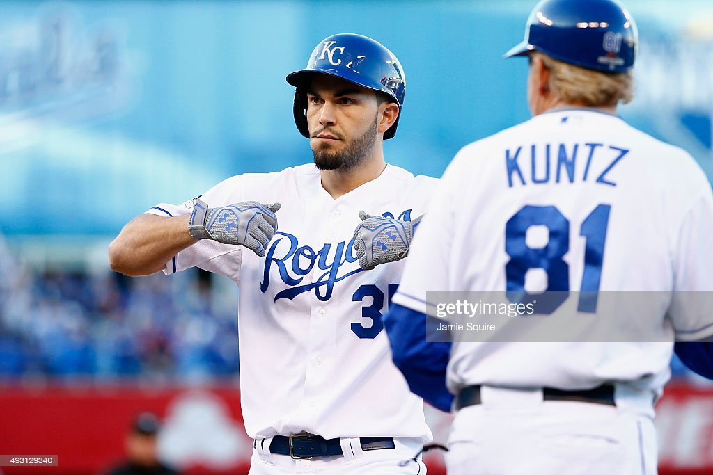 Eric Hosmer #35 of the Kansas City Royals reacts after hitting an RBI single in the seventh inning against the Toronto Blue Jays in game two of the American League Championship Series at Kauffman Stadium on October 17, 2015 in Kansas City, Missouri.
