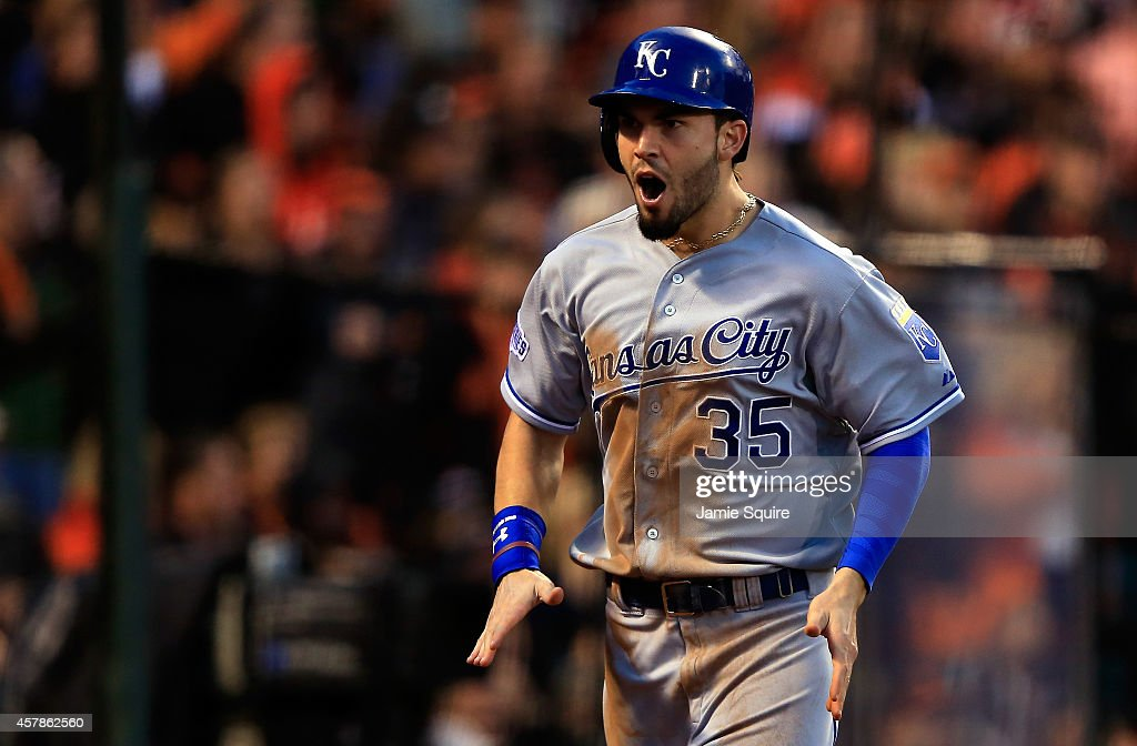 Eric Hosmer #35 of the Kansas City Royals reacts after scoring on a Omar Infante #14 two-run single in the third inning against the San Francisco Giants during Game Four of the 2014 World Series at AT&T Park on October 25, 2014 in San Francisco, California.