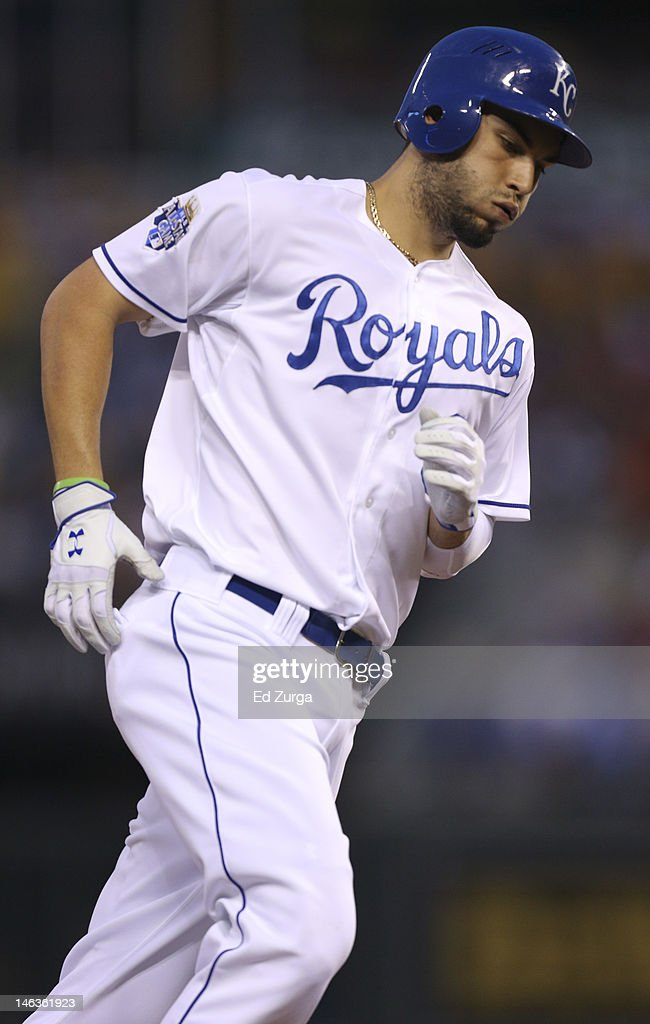 Eric Hosmer #35 of the Kansas City Royals rounds third after hitting a two-run home run during an interleague game against the Milwaukee Brewers in the sixth inning at Kauffman Stadium on June 14, 2012 in Kansas City, Missouri.