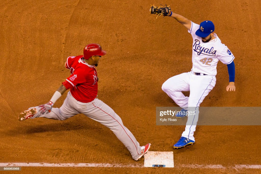 Eric Hosmer #35 of the Kansas City Royals tags out Yunel Escobar #0 of the Los Angeles Angels of Anaheim in the sixth inning at Kauffman Stadium on April 15, 2017 in Kansas City, Missouri. All players are wearing #42 in honor of Jackie Robinson Day.