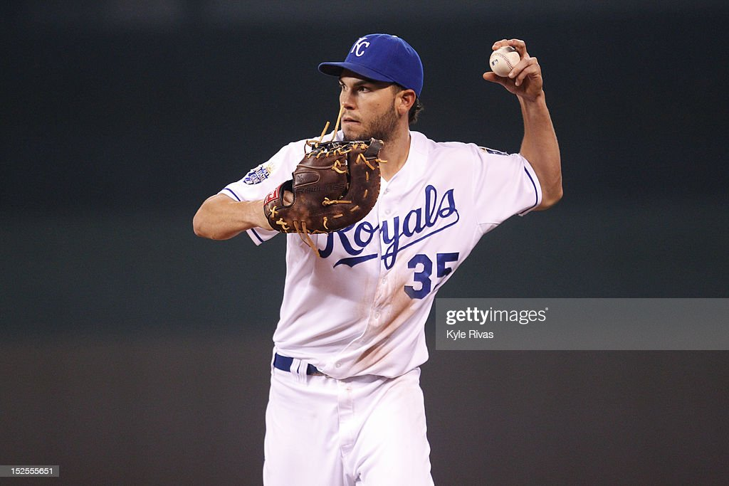<a gi-track='captionPersonalityLinkClicked' href=/galleries/search?phrase=Eric+Hosmer&family=editorial&specificpeople=7091345 ng-click='$event.stopPropagation()'>Eric Hosmer</a> #35 of the Kansas City Royals throws back to first against the Cleveland Indians in the seventh inning on Friday, September 21, 2012 at Kauffman Stadium in Kansas City, Missouri.