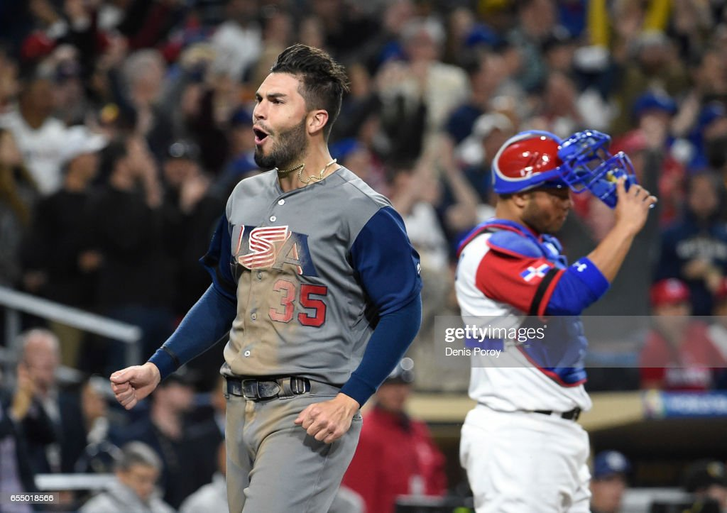 Eric Hosmer #35 of the United States reacts after scoring during the eighth inning of the World Baseball Classic Pool F Game Six between the United States and the Dominican Republic at PETCO Park on March 18, 2017 in San Diego, California.