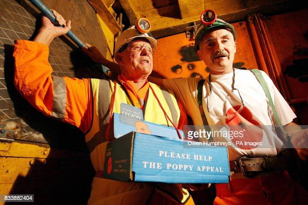 Eric Howden a veteran fund raiser for the British legion and miner Vince Mc Cabe travel over 1 mile under ground in Britain's deepest potash mine the...