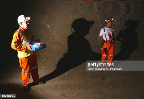 Eric Howden a veteran fund raiser for the British legion sells poppies to miners over 1 mile under ground in Britain's deepest potash mine the Boulby...