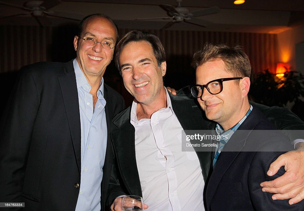 Eric Huge, Konstantin Kakanias and Nathan Turner seen as Mary McDonald entertains guests in celebration of her exclusive collection for Schumacher And Paterson, Flynn & Martin at Sunset Tower on March 27, 2013 in West Hollywood, California.