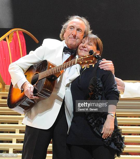 Eric Idle and Arlene Phillips at the opening night of 'Monty Python Live ' at The O2 Arena on July 1 2014 in London England