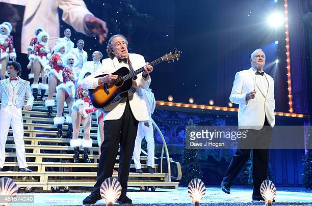 Eric Idle and John Cleese perform on the opening night of 'Monty Python Live ' on July 1 2014 in London England