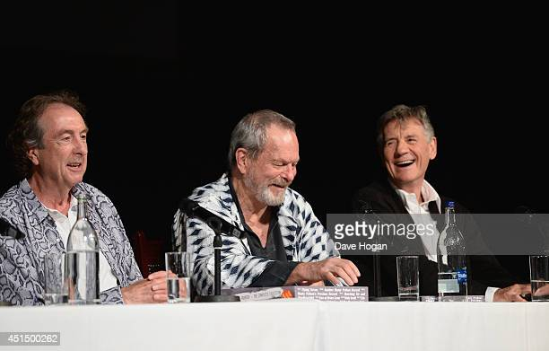 Eric Idle Terry Gilliam and Michael Palin attend a press conference ahead of their upcoming tour at the O2 Arena 'Monty Python Live' at the London...