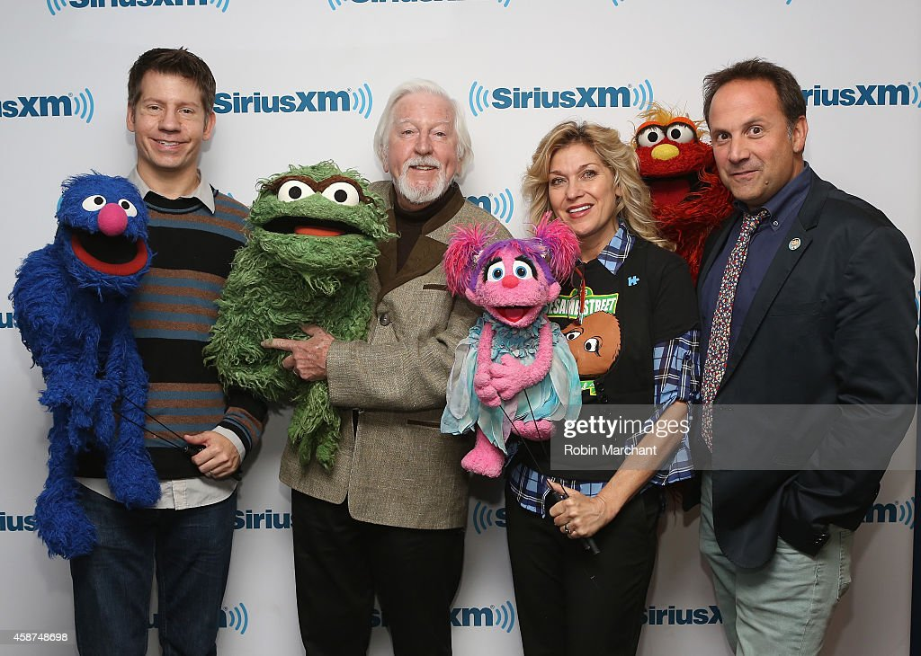 Eric Jacobson 'Grover & Bert', <a gi-track='captionPersonalityLinkClicked' href=/galleries/search?phrase=Caroll+Spinney&family=editorial&specificpeople=653956 ng-click='$event.stopPropagation()'>Caroll Spinney</a> 'Oscar and Big Bird', Leslie Carrara-Rudolph 'Abby Cadabby' and Joey Mazzarino 'Murray Monster' and Head Writer attend SiriusXM's Town Hall with original cast members from Sesame Street commemorating the 45th anniversary of the celebrated series debut on public television moderated by Weekend TODAY co-anchor Erica Hill on October 9, 2014 in New York City.