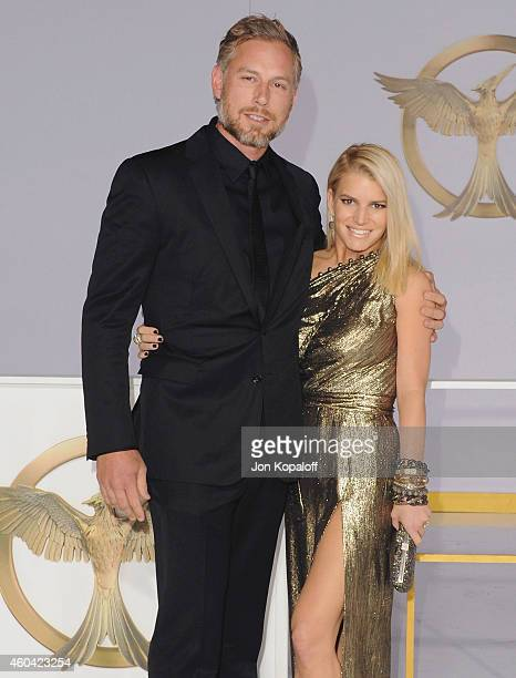 Eric Johnson and Jessica Simpson arrive at the Los Angele Premiere 'The Hunger Games Mockingjay Part 1' at Nokia Theatre LA Live on November 17 2014...