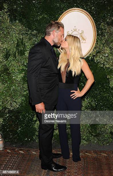 Eric Johnson and Jessica Simpson attend the Jessica Simpson Collection Presentation Spring 2016 during New York Fashion Week on September 9 2015 in...