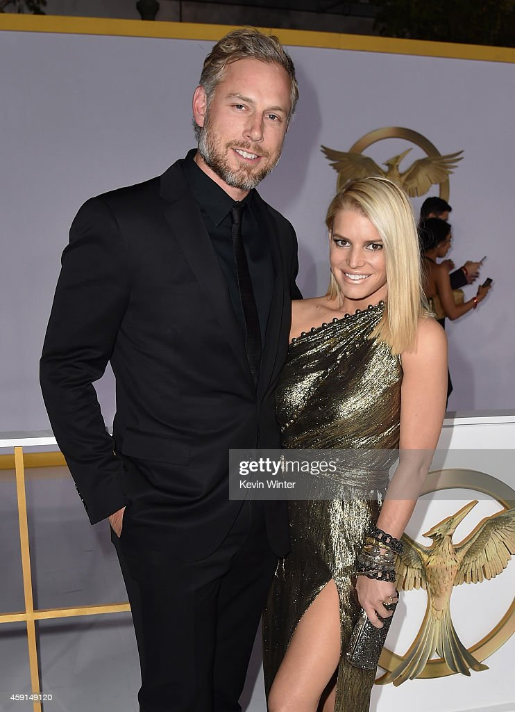 Eric Johnson and singer/songwriter Jessica Simpson attend the premiere of Lionsgate's 'The Hunger Games Mockingjay Part 1' at Nokia Theatre LA Live...
