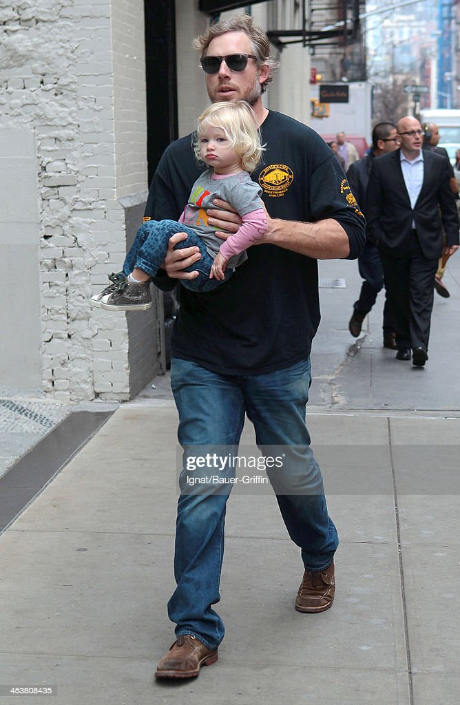 Eric Johnson is seen with his daughter Maxwell Drew Johnson on December 05, 2013 in New York City.